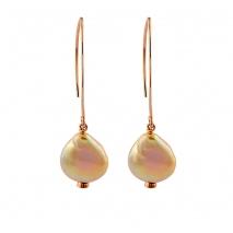 Oxette σκουλαρίκια 03X05-01787 από ροζ επιχρυσωμένο ασήμι 925ο με ημιπολύτιμες πέτρες (Πέρλες)