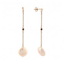Oxette σκουλαρίκια 03X05-01792 από ροζ επιχρυσωμένο ασήμι 925ο με ημιπολύτιμες πέτρες (Πέρλες και Κρύσταλλοι Quartz)