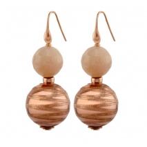 Oxette σκουλαρίκια 03X05-01794 από ροζ επιχρυσωμένο ασήμι 925ο με ημιπολύτιμες πέτρες (Αχάτης)