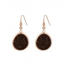 Oxette σκουλαρίκια 03X05-01824 από ροζ επιχρυσωμένο ασήμι 925ο με ημιπολύτιμες πέτρες (Κρύσταλλοι Quartz)