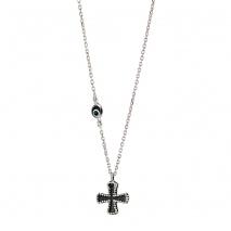 Oxette κολιέ σταυρός 01X01-04485 από επιπλατινωμένο ασήμι 925ο με ημιπολύτιμες πέτρες (Μάτι)