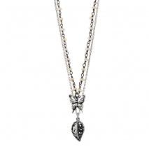 Oxette κολιέ 01X01-04486 από επιπλατινωμένο ασήμι 925ο με ημιπολύτιμες πέτρες (Πέρλες)