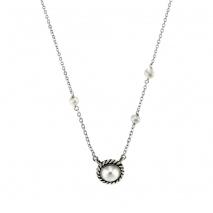 Oxette κολιέ 01X01-04510 από επιπλατινωμένο ασήμι 925ο με ημιπολύτιμες πέτρες (Πέρλες)