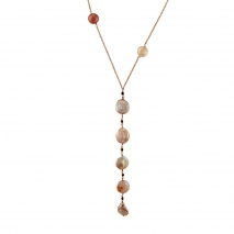 Oxette κολιέ 01X05-02048 από ροζ επιχρυσωμένο ασήμι 925ο με ημιπολύτιμες πέτρες (Πέρλες και Αχάτης)
