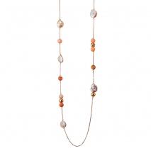 Oxette κολιέ 01X05-02051 από ροζ επιχρυσωμένο ασήμι 925ο με ημιπολύτιμες πέτρες (Πέρλες και Αχάτης)