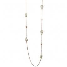 Oxette κολιέ 01X05-02059 από ροζ επιχρυσωμένο ασήμι 925ο με ημιπολύτιμες πέτρες (Πέρλες και Ζιργκόν)