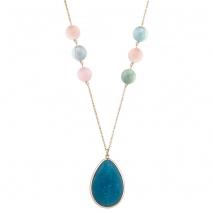 Oxette κολιέ 01X05-02061 από ροζ επιχρυσωμένο ασήμι 925ο με ημιπολύτιμες πέτρες (Κρύσταλλοι Quartz και Αχάτης)