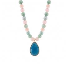 Oxette κολιέ 01X05-02062 από ροζ επιχρυσωμένο ασήμι 925ο με ημιπολύτιμες πέτρες (Κρύσταλλοι Quartz και Αχάτης)