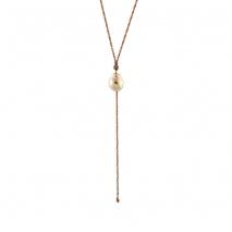 Oxette κολιέ 01X05-02073 από ροζ επιχρυσωμένο ασήμι 925ο με ημιπολύτιμες πέτρες (Πέρλες και Ζιργκόν)