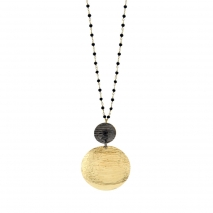 Oxette κολιέ 01X05-02094 από επιχρυσωμένο ασήμι 925ο με ημιπολύτιμες πέτρες (Κρύσταλλοι Quartz)