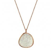 Oxette κολιέ 01X05-02130 από ροζ επιχρυσωμένο ασήμι 925ο με ημιπολύτιμες πέτρες (Κρύσταλλοι Quartz)