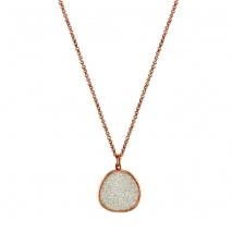 Oxette κολιέ 01X05-02131 από ροζ επιχρυσωμένο ασήμι 925ο με ημιπολύτιμες πέτρες (Κρύσταλλοι Quartz)