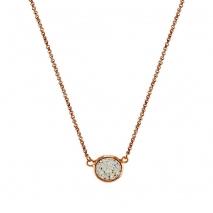 Oxette κολιέ 01X05-02132 από ροζ επιχρυσωμένο ασήμι 925ο με ημιπολύτιμες πέτρες (Κρύσταλλοι Quartz)