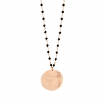 Oxette κολιέ 01X05-02141 από ροζ επιχρυσωμένο ασήμι 925ο με ημιπολύτιμες πέτρες (Κρύσταλλοι Quartz)