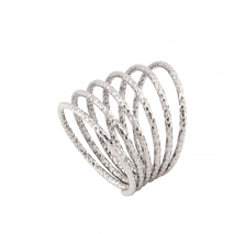 Oxette Sterling Silver Ring 04X01-03480 Spiral with Platinum Plating