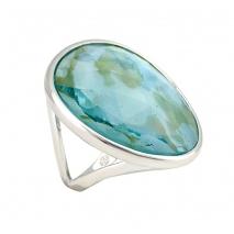 Oxette δαχτυλίδι 04X15-00032 από ροζ ορείχαλκο με ημιπολύτιμες πέτρες (Κρύσταλλοι Quartz)