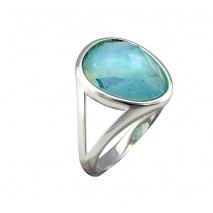 Oxette δαχτυλίδι 04X15-00034 από ροζ ορείχαλκο με ημιπολύτιμες πέτρες (Κρύσταλλοι Quartz)
