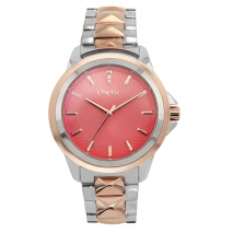 Oxette ρολόι 11X05-00505 από ανοξείδωτο ατσάλι με ασημί και ροζ χρυσή επιμετάλλωση στην κάσα και μπρασελέ