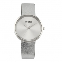 Oxette ρολόι 11X06-00481 από ανοξείδωτο ατσάλι με ασημί επιμετάλλωση στην κάσα και δερμάτινο λουράκι