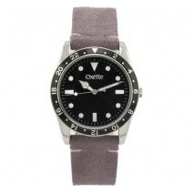 Oxette ρολόι 11X06-00487 από ανοξείδωτο ατσάλι με ασημί επιμετάλλωση στην κάσα και δερμάτινο λουράκι