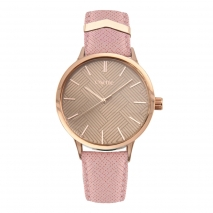 Oxette Stainless Steel Watch 11X65-00202 with rose gold case and leather strap