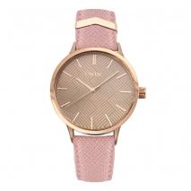 Oxette ρολόι 11X65-00202 από ανοξείδωτο ατσάλι με ροζ χρυσή επιμετάλλωση στην κάσα και δερμάτινο λουράκι