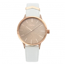 Oxette Stainless Steel Watch 11X65-00204 with rose gold case and leather strap