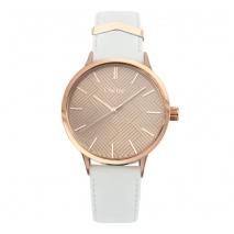 Oxette ρολόι 11X65-00204 από ανοξείδωτο ατσάλι με ροζ χρυσή επιμετάλλωση στην κάσα και δερμάτινο λουράκι