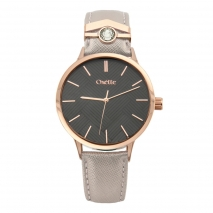 Oxette Stainless Steel Watch 11X65-00205 with rose gold case and leather strap