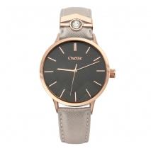 Oxette ρολόι 11X65-00205 από ανοξείδωτο ατσάλι με ροζ χρυσή επιμετάλλωση στην κάσα και δερμάτινο λουράκι