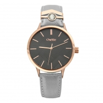Oxette Stainless Steel Watch 11X65-00206 with rose gold case and leather strap