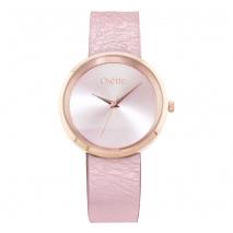 Oxette ρολόι 11X65-00207 από ανοξείδωτο ατσάλι με ροζ χρυσή επιμετάλλωση στην κάσα και δερμάτινο λουράκι