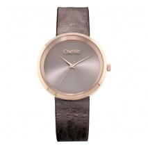 Oxette ρολόι 11X65-00208 από ανοξείδωτο ατσάλι με ροζ χρυσή επιμετάλλωση στην κάσα και δερμάτινο λουράκι