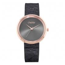 Oxette ρολόι 11X65-00209 από ανοξείδωτο ατσάλι με ροζ χρυσή επιμετάλλωση στην κάσα και δερμάτινο λουράκι