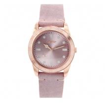 Oxette ρολόι 11X65-00222 από ανοξείδωτο ατσάλι με ροζ χρυσή επιμετάλλωση στην κάσα και δερμάτινο λουράκι