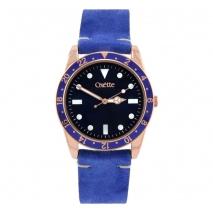 Oxette ρολόι 11X65-00223 από ανοξείδωτο ατσάλι με ροζ χρυσή επιμετάλλωση στην κάσα και δερμάτινο λουράκι