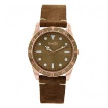 Oxette ρολόι 11X65-00225 από ανοξείδωτο ατσάλι με ροζ χρυσή επιμετάλλωση στην κάσα και δερμάτινο λουράκι