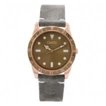 Oxette ρολόι 11X65-00226 από ανοξείδωτο ατσάλι με ροζ χρυσή επιμετάλλωση στην κάσα και δερμάτινο λουράκι