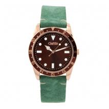 Oxette ρολόι 11X65-00227 από ανοξείδωτο ατσάλι με ροζ χρυσή επιμετάλλωση στην κάσα και δερμάτινο λουράκι