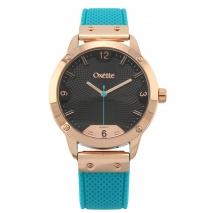 Oxette ρολόι 11X75-00242 από ανοξείδωτο ατσάλι με ροζ χρυσή επιμετάλλωση στην κάσα και λουράκι σιλικόνης
