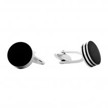 Visetti μανικετόκουμπα MJ-MN014B από ανοξείδωτο ατσάλι (Stainless Steel) με μαύρη επιμετάλλωση