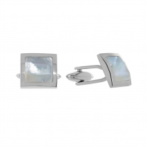 Visetti μανικετόκουμπα MJ-MN018W από ανοξείδωτο ατσάλι (Stainless Steel) με ορυκτή πέτρα