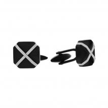 Visetti μανικετόκουμπα MJ-MN021B από ανοξείδωτο ατσάλι (Stainless Steel) με μαύρη επιμετάλλωση