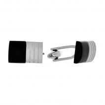 Visetti μανικετόκουμπα MJ-MN029B από ανοξείδωτο ατσάλι (Stainless Steel) με μαύρη επιμετάλλωση