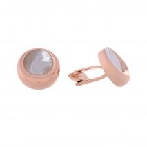 Visetti μανικετόκουμπα MJ-MN030RW από ανοξείδωτο ατσάλι (Stainless Steel) με ροζ χρυσή επιμετάλλωση και ορυκτή πέτρα