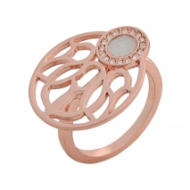 Visetti δαχτυλίδι AJ-WRG093R από ροζ ορείχαλκο με ημιπολύτιμες πέτρες (Κρύσταλλοι Quartz)