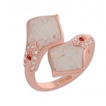Visetti δαχτυλίδι AJ-WRG094R από ροζ ορείχαλκο με ημιπολύτιμες πέτρες (Κρύσταλλοι Quartz)