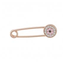 Loisir παιδική καρφίτσα - παραμάνα 06L05-00034 από ροζ επιχρυσωμένο ασήμι 925ο με ημιπολύτιμες πέτρες (Ζιργκόν)