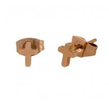 Loisir σκουλαρίκια 03L27-00504 σταυρός από ροζ χρυσό ανοξείδωτο ατσάλι (stainless steel)