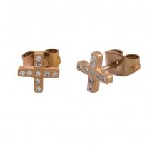 Loisir σκουλαρίκια 03L27-00506 σταυρός από ανοξείδωτο ατσάλι (Stainless Steel) με ημιπολύτιμες πέτρες (Κρύσταλλοι Quartz) και Ion Plated Rose Gold